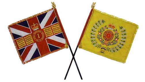 The Queens and Regimental Colour of The Royal Hampshire Regiment